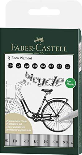 Faber-Castell 166008 Ecco Pigmento - Rotulador de punta fina (8 unidades), color negro
