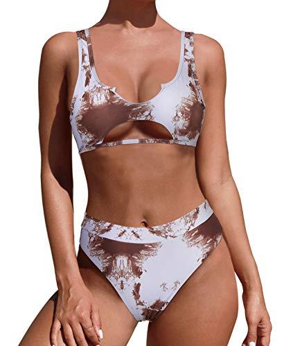 MOSHENGQI Damen-Bikini-Set mit ausgeschnittener Taille, Batikfärbung, zweiteiliger Badeanzug - - Small