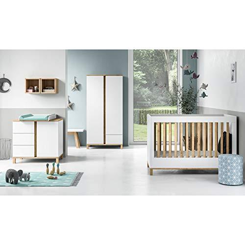 Chambre complète lit évolutif 70x140 - commode à langer - armoire 2 portes Altitude - Blanc