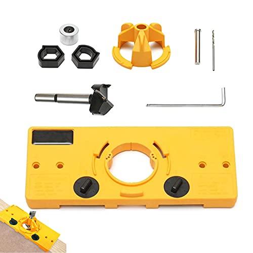 Forstner - Juego de taladros para bisagras ocultas, 35 mm, para carpintería, guía de perforación de agujeros de carpintería, 35 mm, para puertas de gabinete de cocina