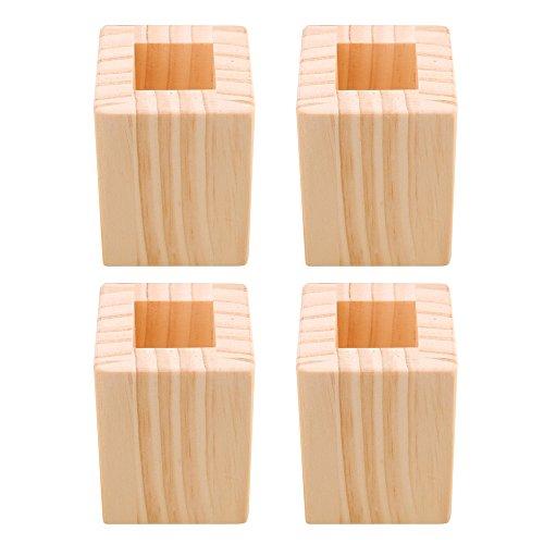 Betterhöhung, Möbelerhöhung, aus Holz, robust, Lochgröße: 3 x 3,4 cm, 4 Stück