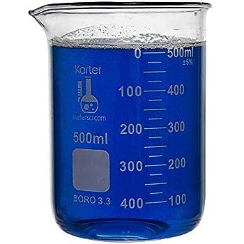 500ml Beaker Low Form Griffin Borosilicate 3.3 Glass Double Scale Graduated Karter Scientific 213D26