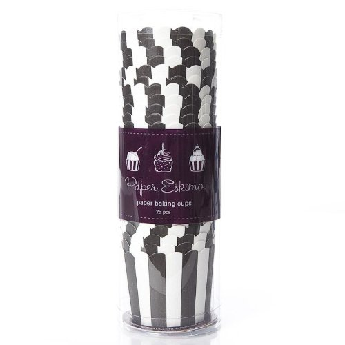 Paper Eskimo Black Stripe Baking Cups x 25