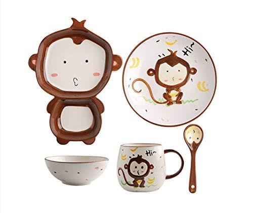 Juego de cuencos y palillos de cerámica para niños, cuencos y platos de arroz bonitos pintados a mano, juego de vajilla y platos para animales, mono