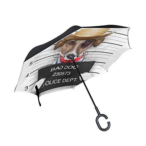 Rode windproof bad hond, Mexicaans, voor regen in de openlucht, met een handvat in C-vorm, omgekeerd drankje