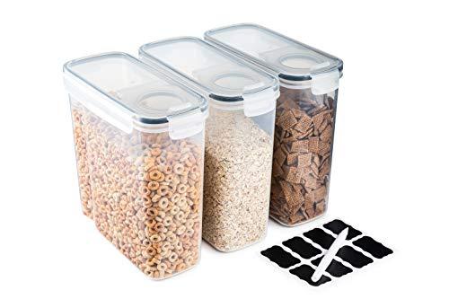 Contenitori per cereali – Set di 3 contenitori per alimenti in plastica – Pratico dispenser per cereali – Food Grade e BPA Free – Durevole e facile da usare – ideale per conservare fiordali, farine