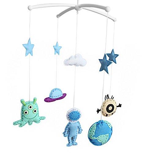 Pigeon Fleet Fait à la Main bébé lit bébé Mobile Musical Mobile Enfants Chambre pépinière décor pour garçons, Bleu Espace étranger
