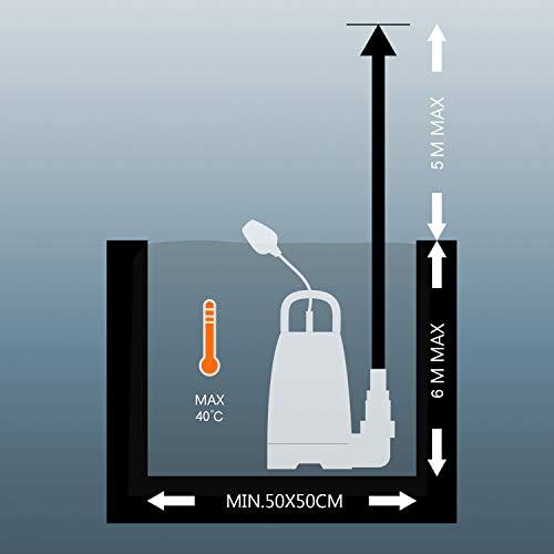 TACKLIFE Pompe d'évacuation pour Eaux, Pompe Vide Piscine Chargées 400W, Max.9000L/H, 5m Hauteur de Refoulement, 6m Profondeur d'immersion, 10m Câble, Interrupteur à Flotteur, Piscine, Etang - GSUP2B