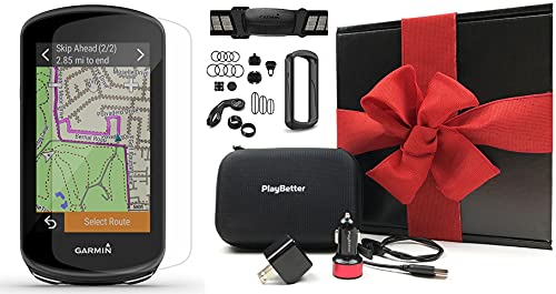 Garmin Edge 1030 Plus (2020 Model) Bike GPS Computer Gift Box Bundle | +TacX/PlayBetter Water Bottle, PlayBetter Silicone Case, HD Screen Protectors, Adapters & Hard Case (Sensors Bundle, Black Case)