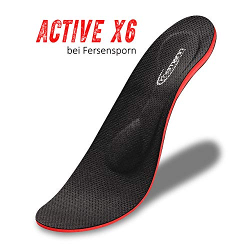 ACTIVE X6 bei Fersensporn und plantarfasziitis, die neuste Generation Orthopädische Schuheinlagen-Einlegesohlen auch bei Knick,- Senk,- Spreizfuß, metatarsalgie, verhindert Fußschmerzen Schweißfuß.