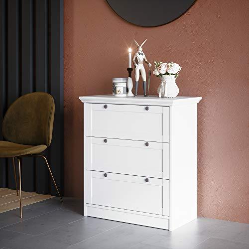 Newfurn Sideboard Kommode Landhaus Anrichte Highboard Mehrzweckschrank II 80x90x 45 cm (BxHxT) II [Lewiston] in weiß/Weiß Wohnzimmer Schlafzimmer Esszimmer