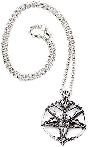 JSBVM Ladies Men Retro Classic Personality Fashion Charm Necklace Metal Skull Round Necklace Pendant