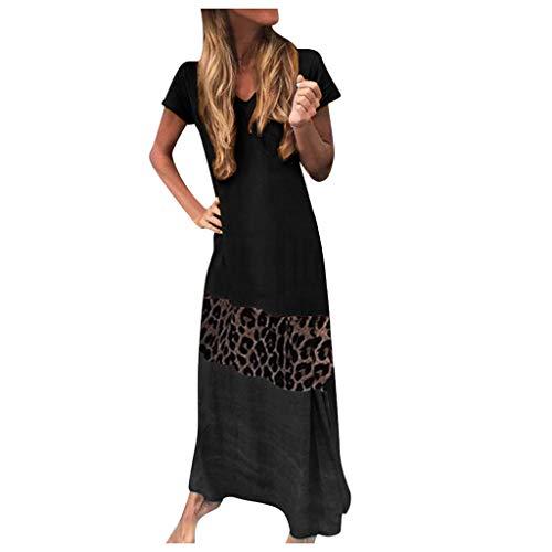 Auifor Damen Sommer Leopard Patchwork Mode V-Ausschnitt Kurzarm T-Shirt Maxi Kleid