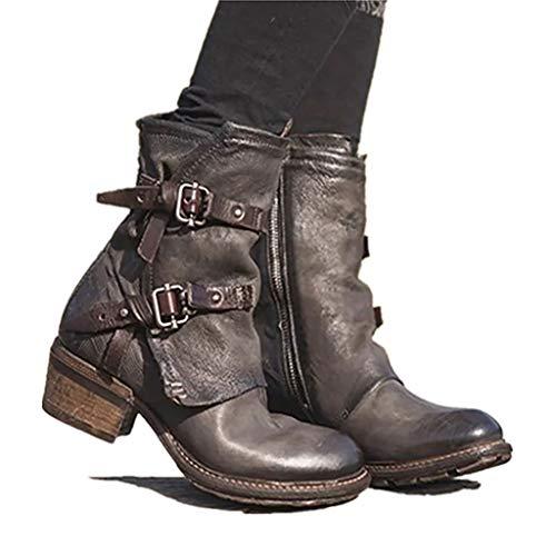 WggWy Bottes d'équitation Chunky Heel, Bottes de...