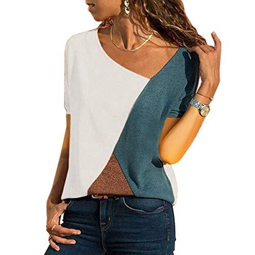 WinCret Lässige Tshirt Damen - Atmungsaktiv Patchwork Farbblock Oberteile Kurzarm - Asymmetrische Sexy V-Ausschnitt Sommer T-shirt