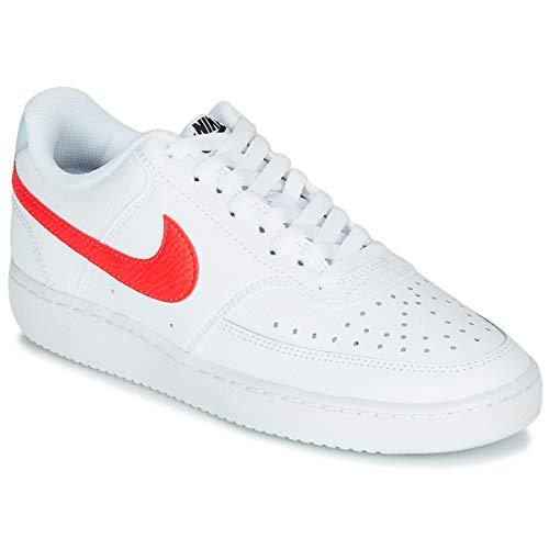 Nike Damen Court Vision Low Sneaker, White/Bright Crimson-Glacier B