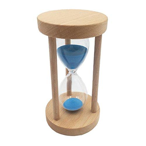 MagiDeal 10/15/30 Minuten Sandglass Sanduhr mit Holzrahmen Sand Dekoration Timer für Kochen, Maske, Yoga, Spielen, Zähneputzen - Blau, 15 Minuten