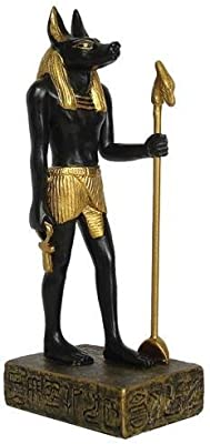 TLT 3.5 Inch Hand Painted Resin Egyptian Anubis Statue with Staff