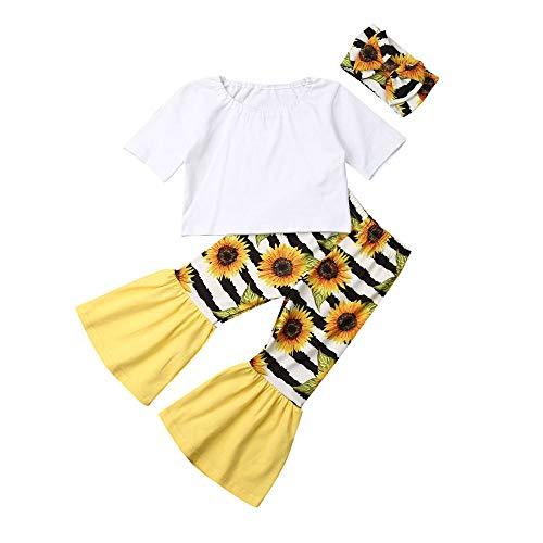 Herfst Winter Peuter Kinderen Baby Meisjes Kleding T-Shirt Blouse Zonnebloem Print Brede Been Broek Hoofdband Outfit Kleding Set
