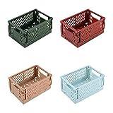 Comyglog 4 cajas de almacenamiento plegables de plástico con revestimiento resistente y duradero para transportar
