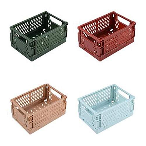 Etase 4Pcs Collapsible Basket Folding Storage Box Crate Plastic Container Durable Transportable Foldable Basket Random Colours