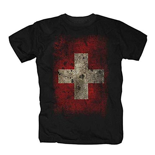 Camiseta de Suiza. Negro M