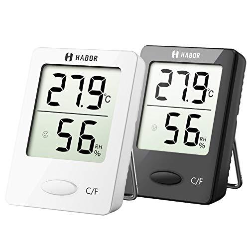 HABOR Higrómetro Digital,Mini Termómetro para Interiores,Indicador de Humedad,Termómetro de Sala, Medidor de Monitor de Humedad de Temperatura Precisa para Hogar, Oficina, Invernadero, Habitaciones