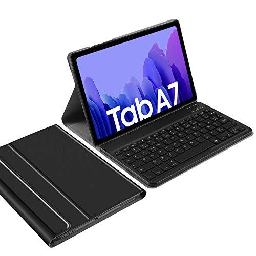 IVSO Clavier Compatible avec Samsung Galaxy Tab A7, [AZERTY Layout] Détachable Clavier avec Stand PU Coque pour Samsung Galaxy Tab A7 10.4 2020, Noir