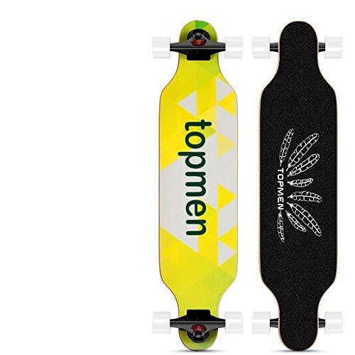 GYX Longboard Dance Board für Erwachsene und Jugendliche, 4-Rad Skateboard, Allround Board, Zitronentee