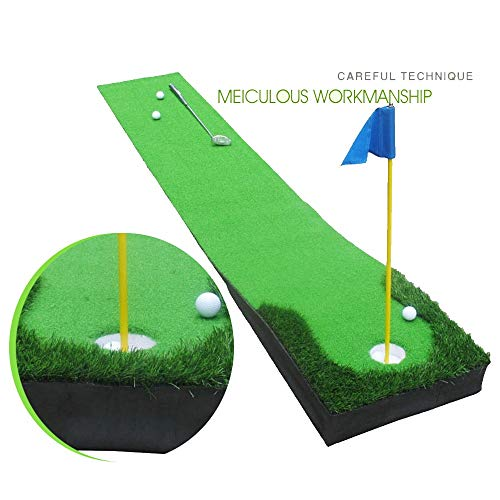 Buy Discount Durable Mini Golf Putting Green Putting Mat Set Training Mat Aid Equipment Gift for Dad...
