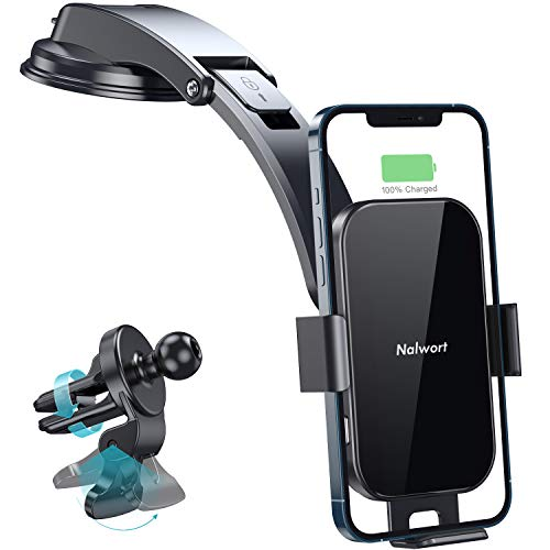Nalwort Wireless Car Charger 15W Qi Fast Charge with Metal Frame Dashboard and Air Vent Phone Holder Auto Clamping Wireless Car Charger Mount Compatible for iPhone 11/XR/X, Samsung S20/S10 and More