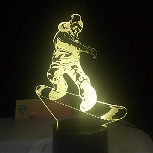BFMBCHDJ Remote Smart Touch LED Snowboard Lampe 7 Farbwechsel Licht 3D Illusion Nacht Lampe Geschenke für Sport Drop Ship