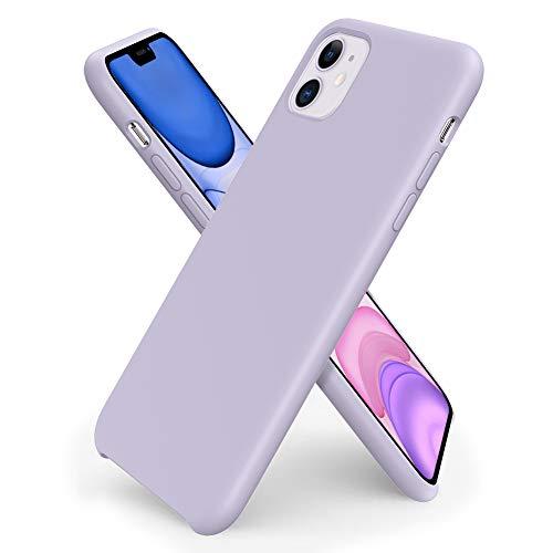 ORNARTO Liquid Silicone Case for iPhone 11, Slim Liquid Silicone Soft Gel Rubber Case Cover for Apple iPhone 11(2019) 6.1 inch-Light Purple