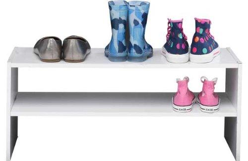 2 Tier Internal Wardrobe Shoe Storage Rack - White by OnlineDiscountStore