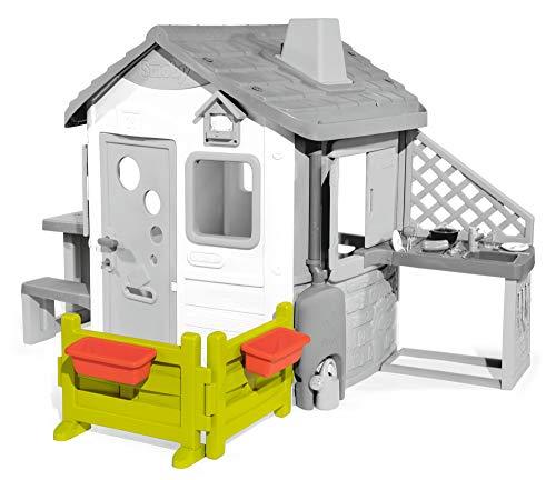 Smoby 810904 Gartenzaun mit Blumenkästen Zubehör für Kinder-Spielhaus, auch freistehend im Garten, grün, rot
