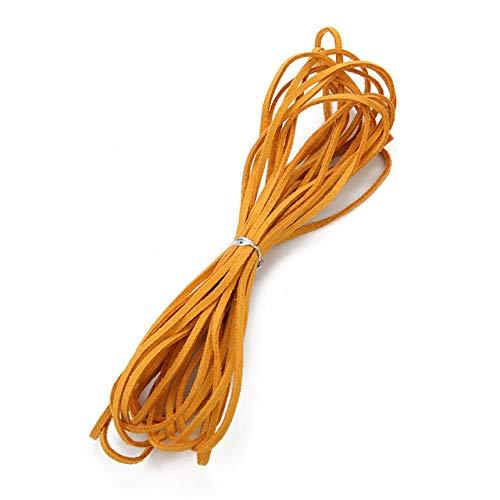 5 meter breed 3mm platte kabel imitatie leer suede leer suede multicolor touw ketting sieraden DIY koord,geel goud,3 mm 5 meter