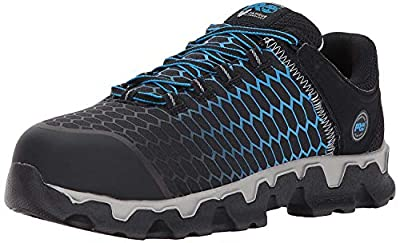 Timberland PRO Men's Powertrain Sport Alloy Toe EH Industrial & Construction Shoe, Black Ripstop Nylon with Blue, 11 M US