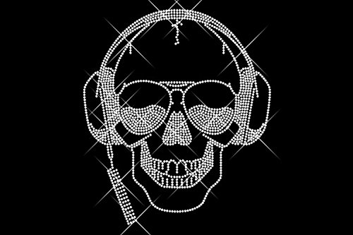 Luxflair, calavera de diamantes con auriculares, imagen termoadhesiva con pequeños cristales, tamaño...