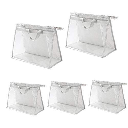 Sacchetto trasparente borse dell'organizzatore PVC toilette bagagli con cerniera e maniglia antipolvere impermeabile per il viaggio le donne 5PCS