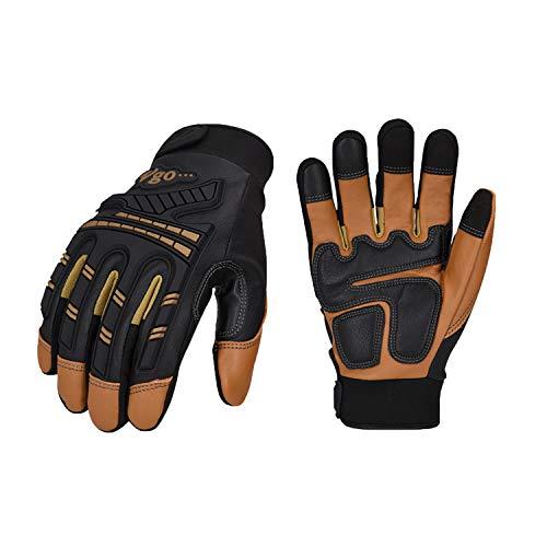 Vgo 1-Pair -4℉ or above Winter Waterproof High Dexterity Heavy Duty Mechanic Glove, Rigger Glove, Anti-vibration, Anti-abrasion, Touchscreen (Size L, Brown, GA8954FW)