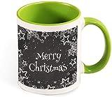 Divertente tazza da caffè in ceramica - Buon Natale con grafica rossa con alberi divertenti per uomo / San Valentino / Compleanno / Bicchieri natalizi Tazze-verde-modello1
