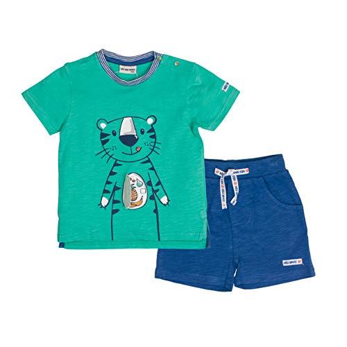 Salt & Pepper Baby-Jungen Set Jungle Uni Tiger Bekleidungsset, Mehrfarbig (Summer Green Ink Blue 662-471), 80