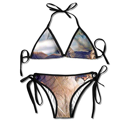 Women's Tie Side Bottom Triangle Bikini Swimsuits for Wild Cougar in Snow Wildlife Mountain Lion Flower Print Black