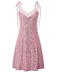 Pink A-Line Prom Dress with Tie Shoulder Straps
