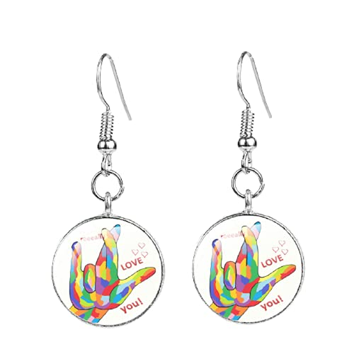 Gestures Images Arete I Love You Rainbow Minimalist Fish Hook Cuelgan Pendientes de gota para mujer Joyería Regalos Accesorios
