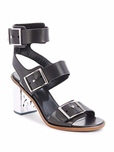 McQ Alexander McQueen Ankle-Strap Leather Sandals Shoes 36 Black