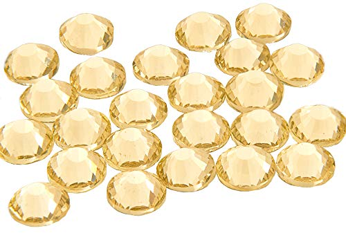Swarovski alternativa EIMASS® elementos cristal HotFix de grado A cristales, parte trasera plana Rhinestones gemas, cristales 1440unidades), color Amarillo, talla 4 mm