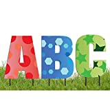 VictoryStore Yard Letters: Alphabet Yard Decoration, Breuer 20 Inch High, 26pcs Includes Stakes (Confetti 13076)