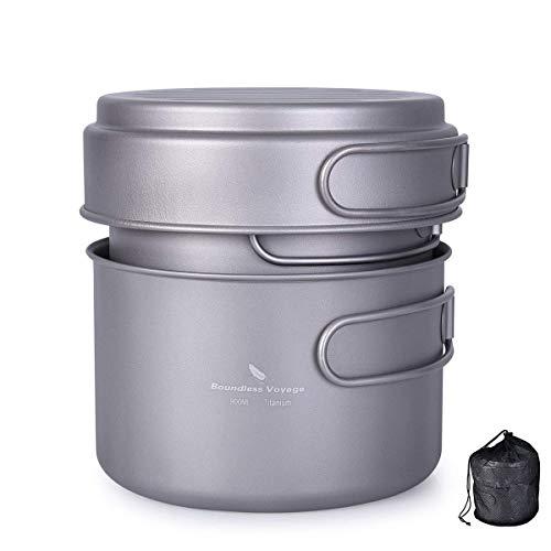 zyvoyage Set di pentole in titanio, 500 ml, 900 ml, 1080 ml, per attività all'aperto, campeggio, escursionismo, cucina, picnic, ciotola, set di stoviglie (500 ml + 900 ml + 1080 ml)