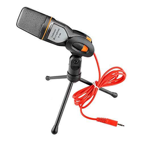 Luntus Micrófono de audio de 3,5 mm enchufe estéreo condensador MIC trípode de escritorio para PC YouTube chat de video juegos podcast grabación
